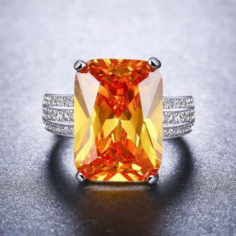 Image of Big Yellow Zirconia Stone Rings - Custom Made | Free Shipping