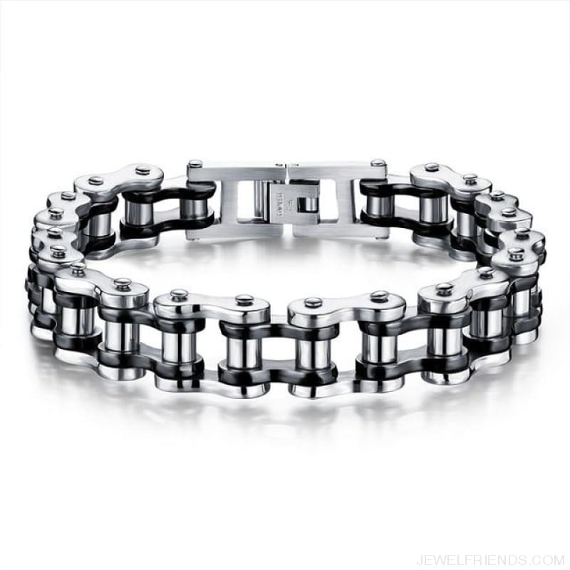 Biker Bicycle / Motorcycle Link Chain Cool Bracelet - Black Silver Color - Custom Made | Free Shipping