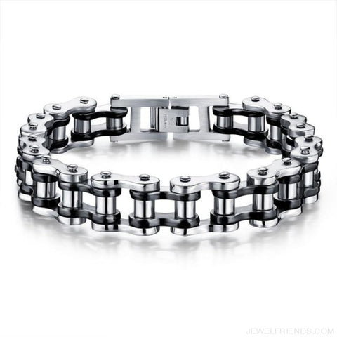 Image of Biker Bicycle / Motorcycle Link Chain Cool Bracelet - Black Silver Color - Custom Made | Free Shipping