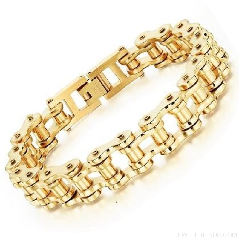 Biker Bicycle / Motorcycle Link Chain Cool Bracelet - Gold Color - Custom Made | Free Shipping