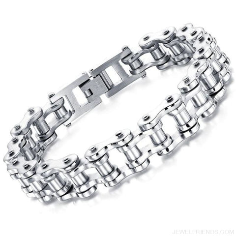 Image of Biker Bicycle / Motorcycle Link Chain Cool Bracelet - Silver Color - Custom Made | Free Shipping