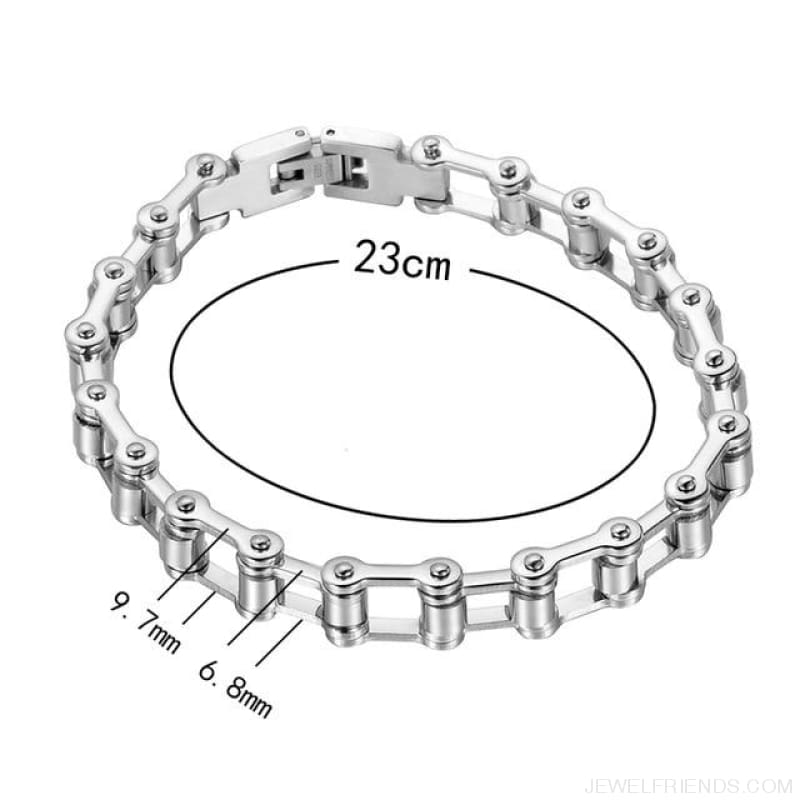 Biker Bicycle / Motorcycle Link Chain Cool Bracelet - Width 9.7Mm - Custom Made | Free Shipping