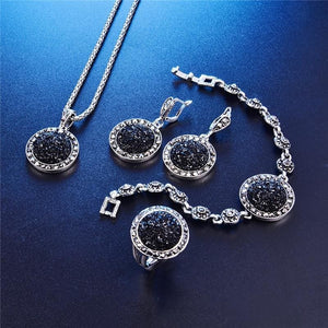 Black Antique Silver Color Crystal Round Stone Pendant Jewelry Set