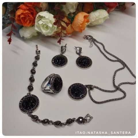 Black Antique Silver Color Crystal Round Stone Pendant Jewelry Set - Custom Made | Free Shipping