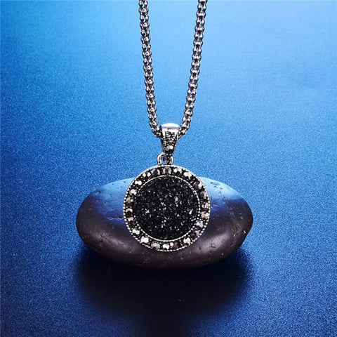 Image of Black Antique Silver Color Crystal Round Stone Pendant Jewelry Set - Custom Made | Free Shipping