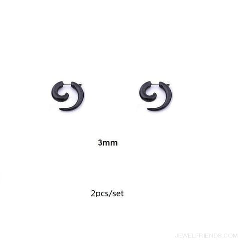 Black Fake Spiral Snail Earrings - R236X2 - Custom Made | Free Shipping