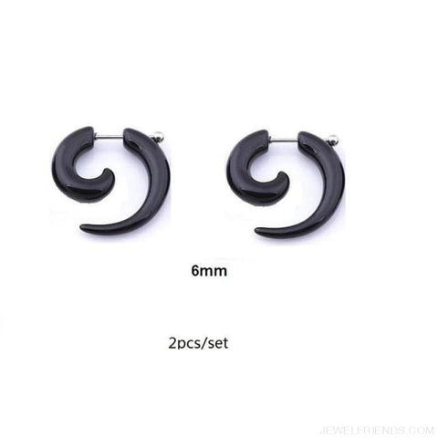 Image of Black Fake Spiral Snail Earrings - R245X2 - Custom Made | Free Shipping