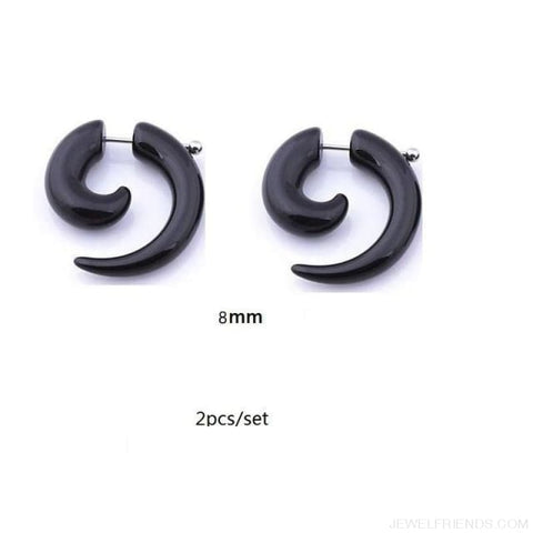 Black Fake Spiral Snail Earrings - R248X2 - Custom Made | Free Shipping