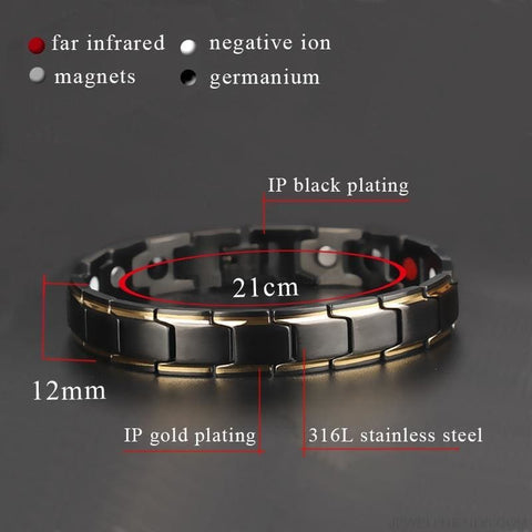 Black Health Bracelets Magnetic 316L Stainless Steel - Custom Made | Free Shipping