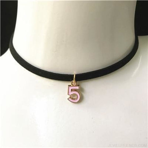 Image of Black Lace Velvet Symbol Pendants Chokers - 5H Pink - Custom Made | Free Shipping