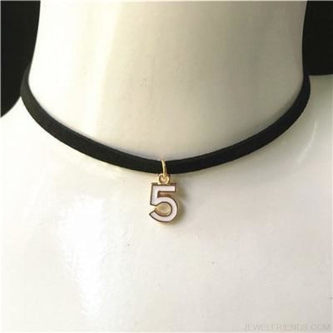 Black Lace Velvet Symbol Pendants Chokers - 5H White - Custom Made | Free Shipping