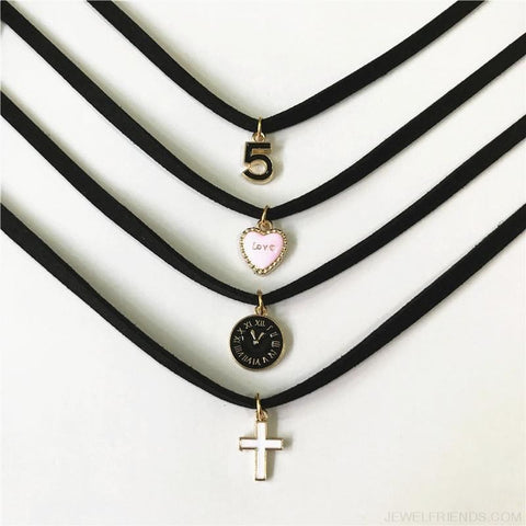 Black Lace Velvet Symbol Pendants Chokers - Custom Made | Free Shipping