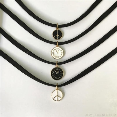 Image of Black Lace Velvet Symbol Pendants Chokers - Custom Made | Free Shipping