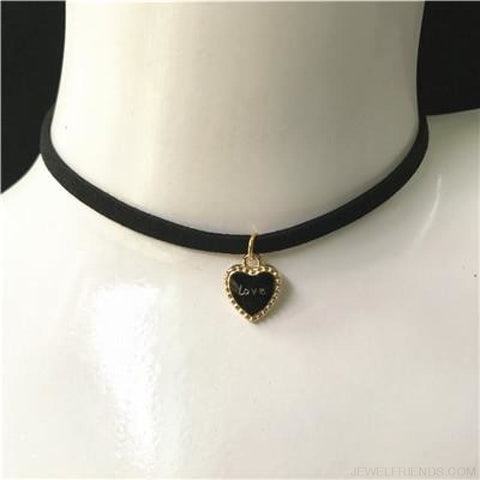 Image of Black Lace Velvet Symbol Pendants Chokers - Love Black - Custom Made | Free Shipping