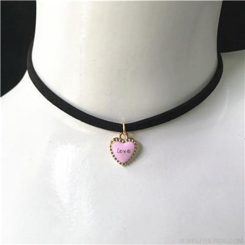 Image of Black Lace Velvet Symbol Pendants Chokers - Love Pink - Custom Made | Free Shipping