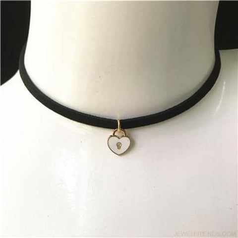 Image of Black Lace Velvet Symbol Pendants Chokers - S52 White - Custom Made | Free Shipping