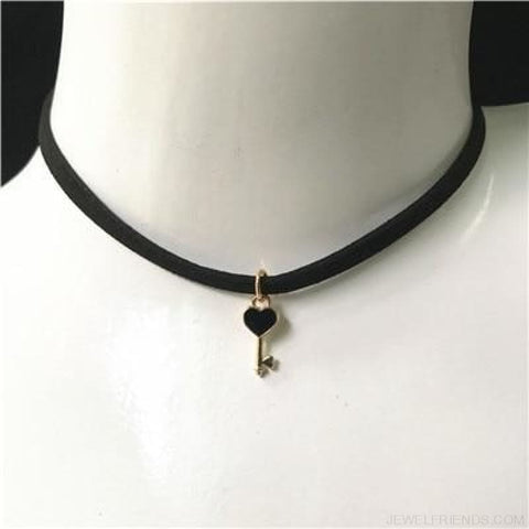 Image of Black Lace Velvet Symbol Pendants Chokers - Ys53 Black - Custom Made | Free Shipping