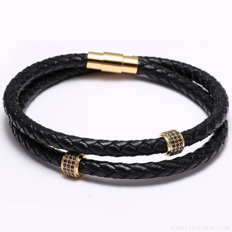 Black Leather Bracelet Wristband Magnetic Clasp - Gold - Custom Made | Free Shipping