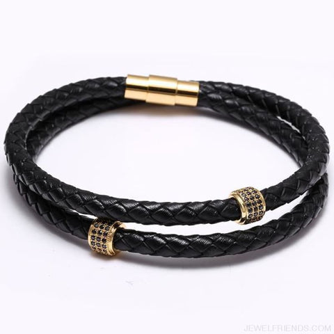 Image of Black Leather Bracelet Wristband Magnetic Clasp - Gold - Custom Made | Free Shipping