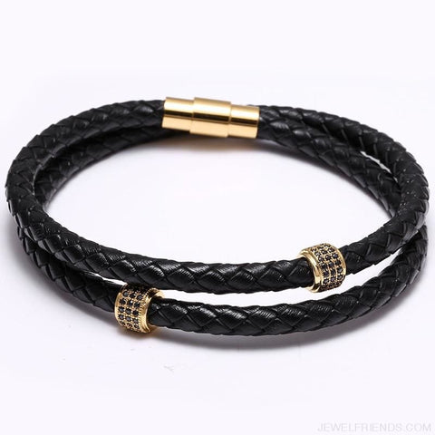 Image of Black Leather Bracelet Wristband Magnetic Clasp - Custom Made | Free Shipping