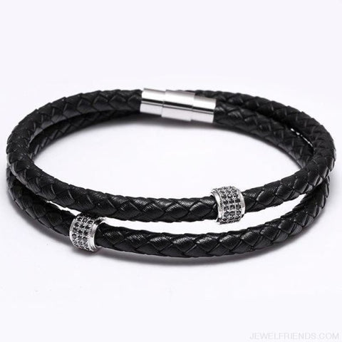 Black Leather Bracelet Wristband Magnetic Clasp - Silver - Custom Made | Free Shipping