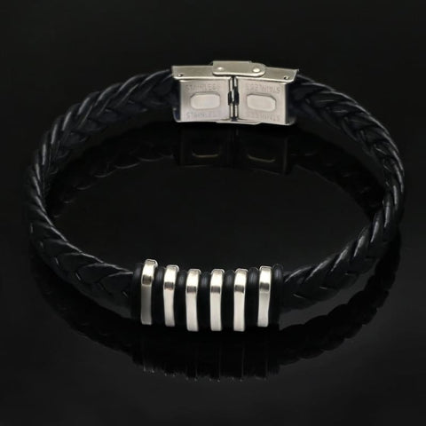 Black Leather Rock Bracelet - Custom Made | Free Shipping