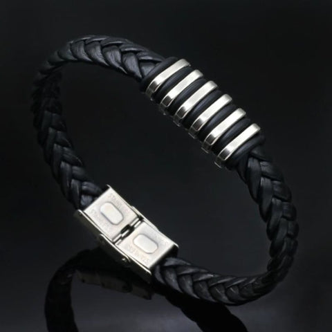Image of Black Leather Rock Bracelet - Custom Made | Free Shipping