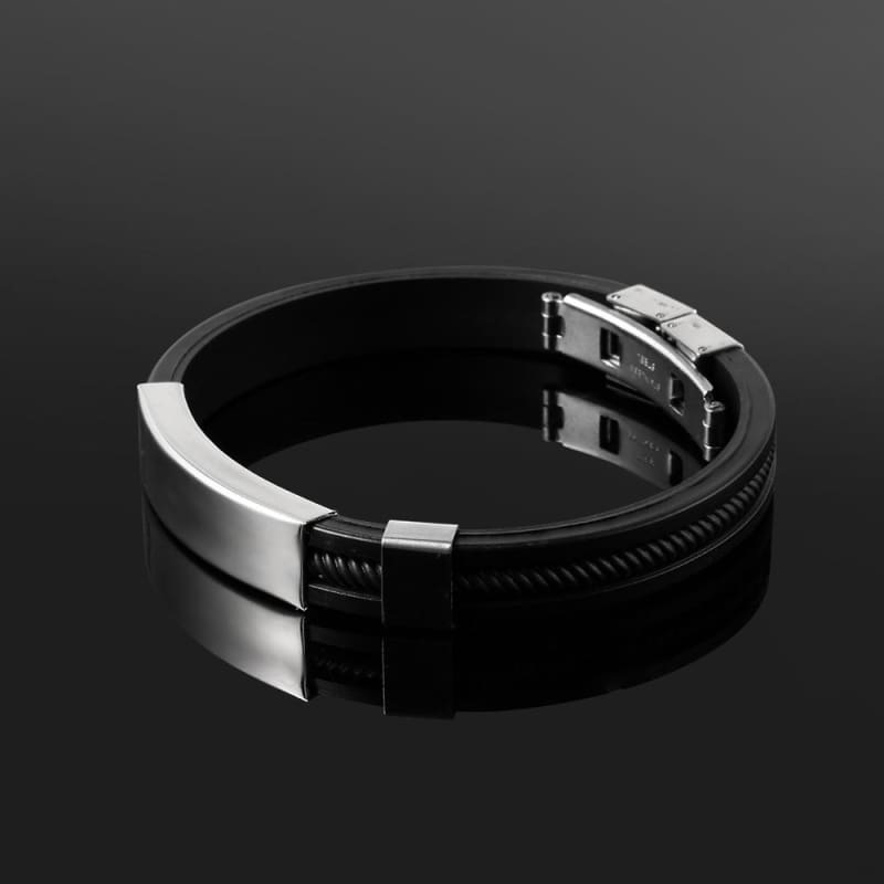 Black Punk Rubber Silicone Stainless Steel Bracelets - Custom Made | Free Shipping
