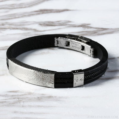 Image of Black Punk Rubber Silicone Stainless Steel Bracelets - Custom Made | Free Shipping