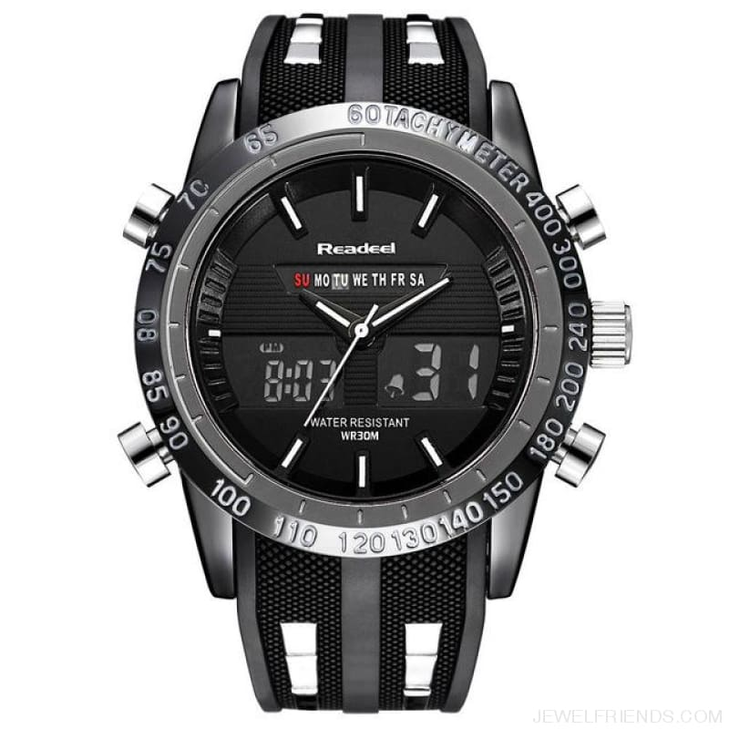 Black Sports Watches Waterproof Led Digital Quartz - Black - Custom Made | Free Shipping