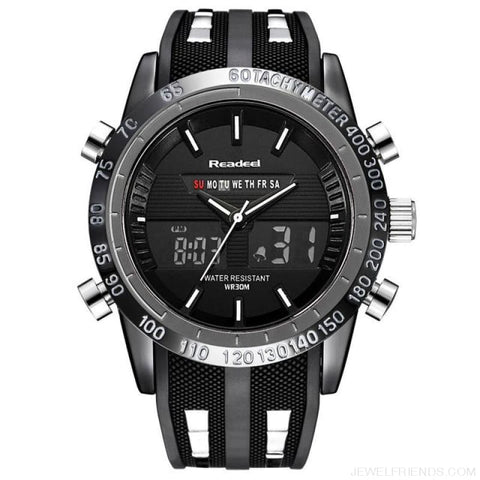 Image of Black Sports Watches Waterproof Led Digital Quartz - Black - Custom Made | Free Shipping