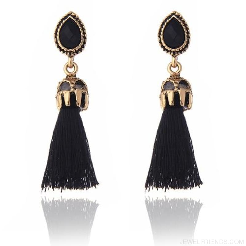 Black/grey/blue Water Drop Tassel Earrings - Black - Custom Made | Free Shipping