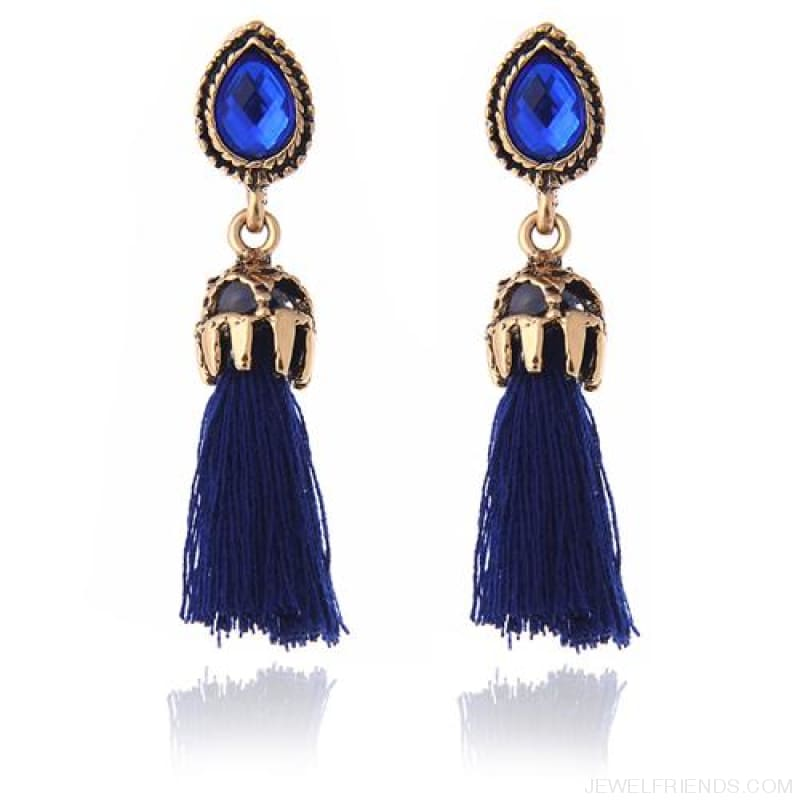 Black/grey/blue Water Drop Tassel Earrings - Blue - Custom Made | Free Shipping
