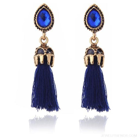 Image of Black/grey/blue Water Drop Tassel Earrings - Blue - Custom Made | Free Shipping