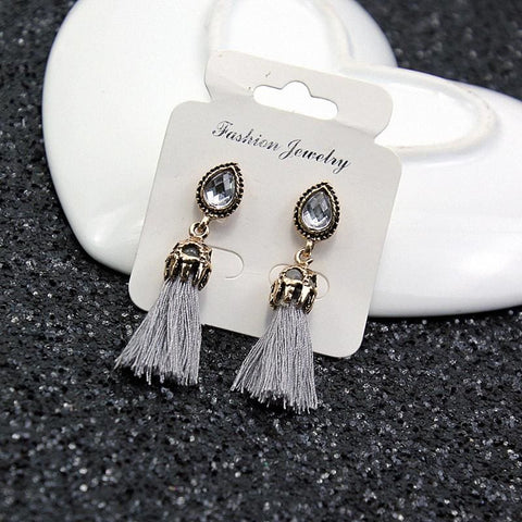 Image of Black/grey/blue Water Drop Tassel Earrings - Custom Made | Free Shipping