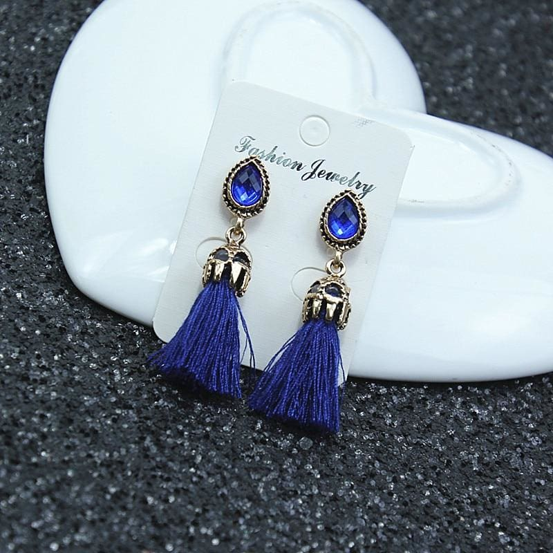 Black/grey/blue Water Drop Tassel Earrings - Custom Made | Free Shipping