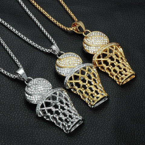 Bling Iced Out Basketball Pendants Necklaces - Custom Made | Free Shipping