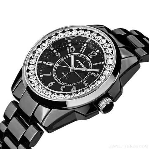 Image of Bling Rhinestone Luxury Steel Quartz Watches - Black Silver - Custom Made | Free Shipping