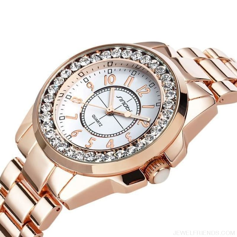 Bling Rhinestone Luxury Steel Quartz Watches - Rose Gold - Custom Made | Free Shipping