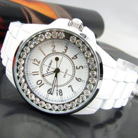 Image of Bling Rhinestone Luxury Steel Quartz Watches - White Silver - Custom Made | Free Shipping