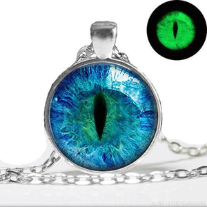 Blue Cats Eye Glow In The Dark Necklace - Custom Made | Free Shipping
