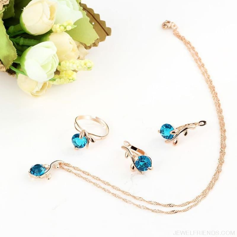 Blue Crystal Gold Leaf Jewelry Set - Custom Made | Free Shipping