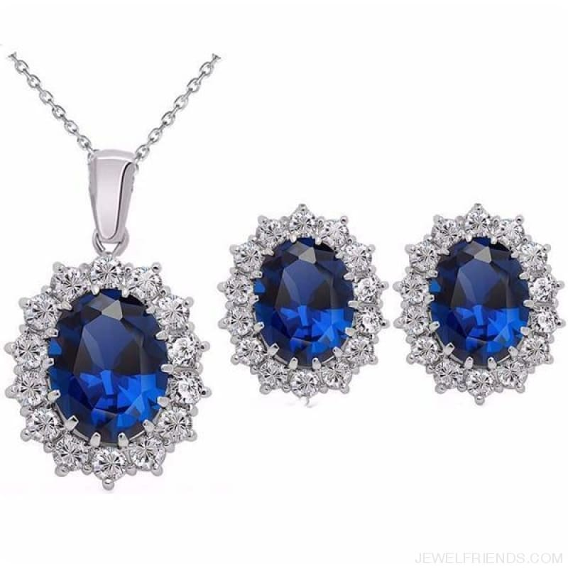 Blue Crystal Stone Wedding Jewelry Sets - Darkblue - Custom Made | Free Shipping