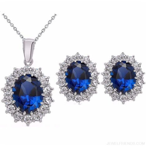 Image of Blue Crystal Stone Wedding Jewelry Sets - Darkblue - Custom Made | Free Shipping