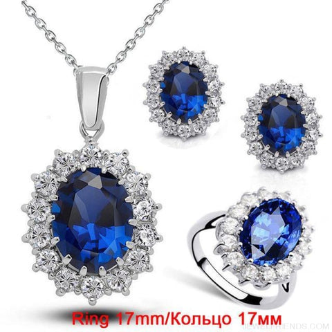 Image of Blue Crystal Stone Wedding Jewelry Sets - Darkblue Ring 17 Mm - Custom Made | Free Shipping