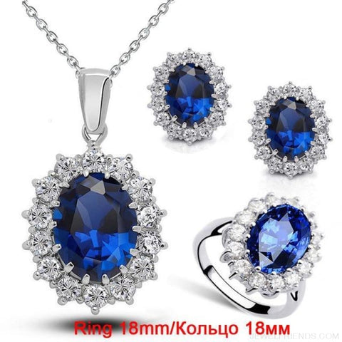 Image of Blue Crystal Stone Wedding Jewelry Sets - Darkblue Ring 18 Mm - Custom Made | Free Shipping
