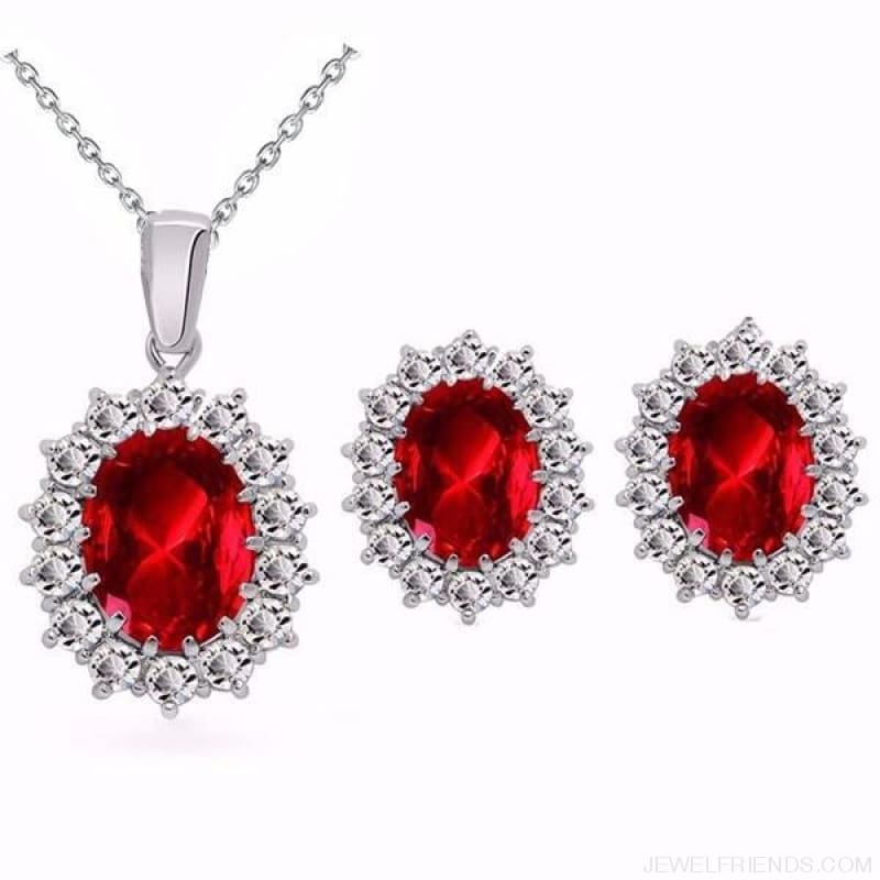 Blue Crystal Stone Wedding Jewelry Sets - Darkred - Custom Made | Free Shipping