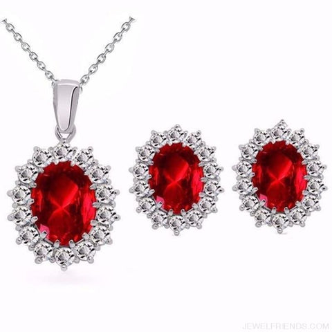 Image of Blue Crystal Stone Wedding Jewelry Sets - Darkred - Custom Made | Free Shipping