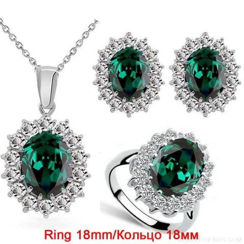 Image of Blue Crystal Stone Wedding Jewelry Sets - Emerald Green 18Mm - Custom Made | Free Shipping