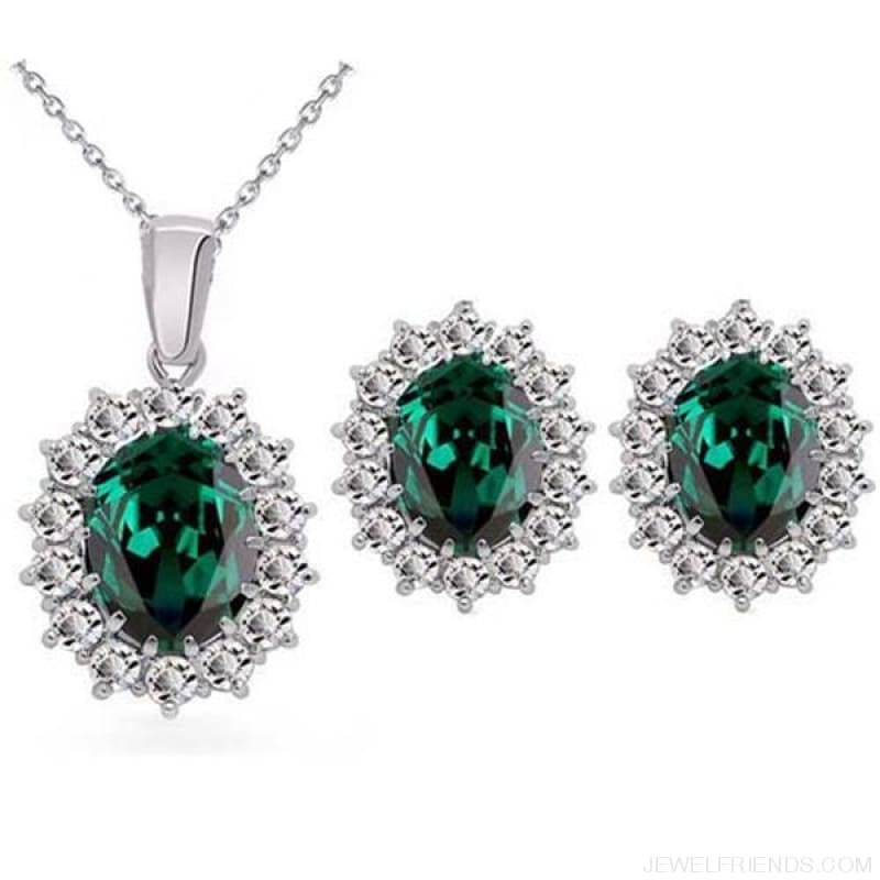 Blue Crystal Stone Wedding Jewelry Sets - Emerald Green - Custom Made | Free Shipping